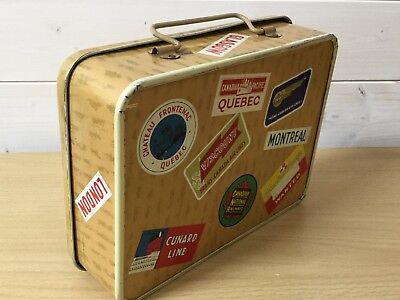 Vintage Biscuit Tin in the Form of a Suitcase. Canadian Travel Labels.