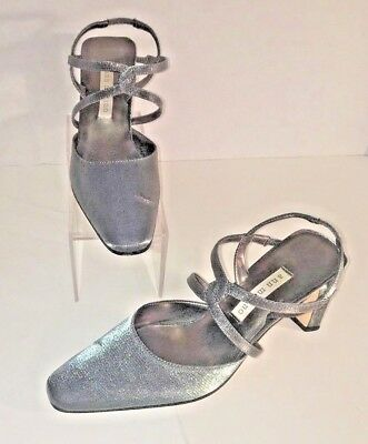 74a444029076f8 ANN MARINO Women s Shimmery Silver Strappy Slingback Evening Heels Size  ...