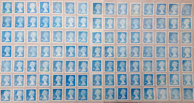 100 Unfranked Second Class Blue Stamps With Glue Easy Peel. Face Value £58