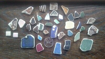 37 RARE Natural Surf Tumbled Pottery Shards/Pieces Not Sea Glass BEAUTIFUL $$