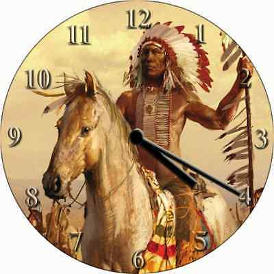 NOVELTY WALL CLOCK - Native American Indian Chief Design - Fantasy Wall Clock