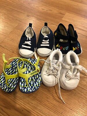 Lot of 7 Pairs of Baby Boy's Shoes soft sole sz 1, 1W & 2
