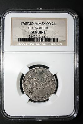 El Cazador HIGH GRADE 1765 2 Reales Shipwreck TWO PILLAR Coin; NGC Certified