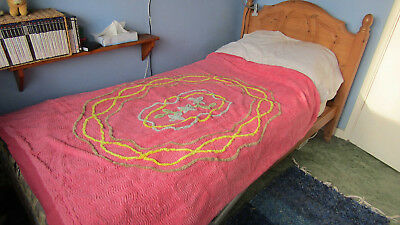 Vintage candlewick single bed quilt cover, c.1960s