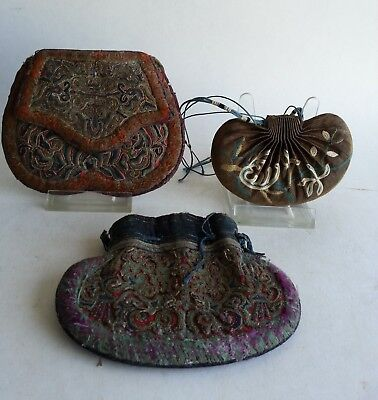 3 Antique Chinese Scent Purse embroidered silk wallet