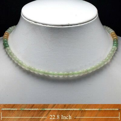 Rare! 152.77ct 6mm Necklace Natural Untreated Green & Yellow Jade 22.8 Inches