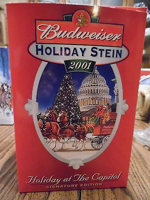 Anheuser Busch AB  Budweiser  Bud  2001 Lidded Holiday  Christmas Stein  Signed