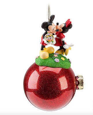 Disney Parks Celebration Minnie and Mickey Mouse Ornament Christmas Ball NEW