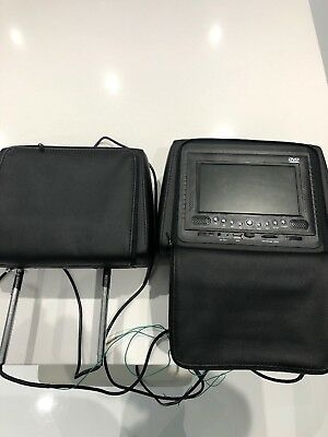 Pair Of Car Headrests with built in Monitor/ DVD Player/USB In Faux Leather Used
