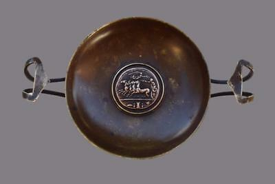 Antique French Empire Brown Patina Bronze Compote Trinket Bowl with Pedestal