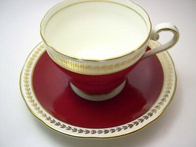Aynsley Antique Tea Cup and Saucer Bone China Set Maroon Gold Ivory1934-39