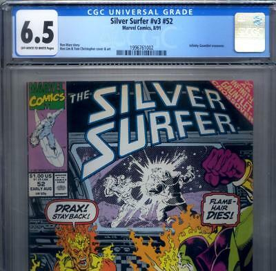 PRIMO:  SILVER SURFER #52 FN+ 6.5 CGC Thanos INFINITY GAUNTLET Marvel comics lot