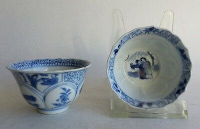 2 Antique 18th Chinese Porcelain Tea cup Kangxi Blue White China Lady Eliza