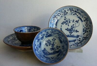 2 Antique 18th Chinese Porcelain Batavia Tea cup Blue White garden