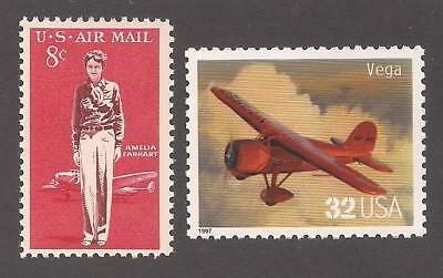 Amelia Earhart + Vega Aircraft - 2 U.s. Postage Stamps - Mint Condition