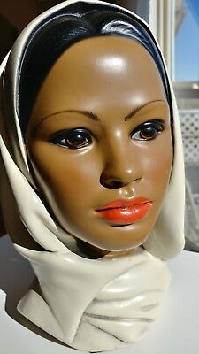 Vintage Marwal Chalkware Head Bust Statue - Woman in Scarf - 1950s or 1960s
