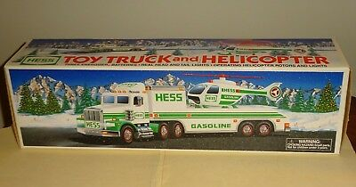 1995 HESS TOY TRUCK & HELICOPTER in the Original Box with Inserts