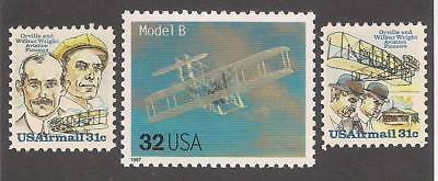 Wright Brothers - Orville & Wilbur - Model B - 3 U.s. Stamps - Mint Condition