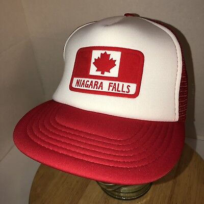 6e426c13a28 Vintage 80s NIAGRA FALLS Canada White Red Mesh Trucker Hat Cap Snapback  Vacation