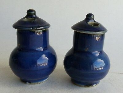 2 Rare Antique Chinese Porcelain Powder Blue Miniature Vase & Cover 18th Century