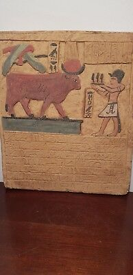 Rare Antique Ancient Egyptian Stela king Amenhotep Gods Hathor &Horus1427-1397BC