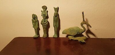 Rare Antique Ancient Egyptian 4 Bronze Statues God Osiris Isis Toth1279–1213BC