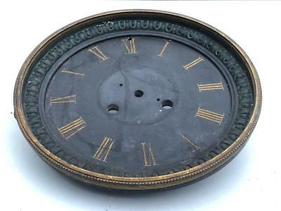 "Vintage Antique Large Slate & Brass 7"" Clock Dial & Bezel For Repair Or Spares"