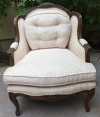 Bau Furniture Armchair French Bergere Pink Cushion Upholstered Hand Carve Edge