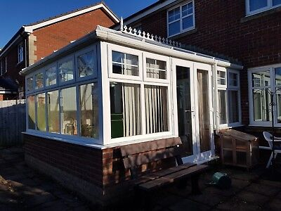 Used White UPVC Conservatory, double glazed approx. 5 x 4 Metres, glass roof