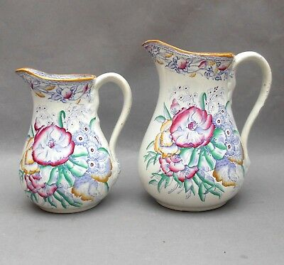 2 ~ C19th Staffordshire Pottery Jugs ~ Floral Lilac Transfer / Antique Pitcher