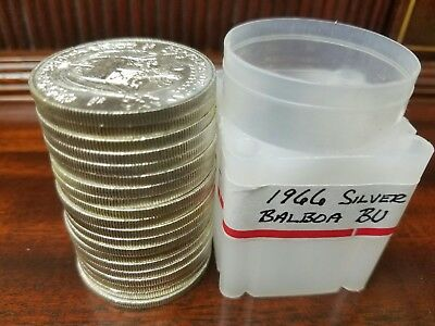 1966 Panama Silver Balboa Choice BU original Roll • 20 Coin Roll • must see!