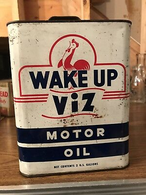 WAKE UP VIZ Oil Metal Lubrication Gasoline Advertising 2 Gallon Can. ROOSTER