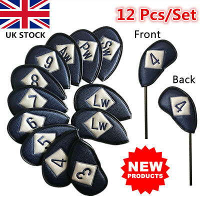 Leather Golf Iron Covers Set PU Club Headcover Left&Right Hand 12Pcs 3-Sw Deluxe