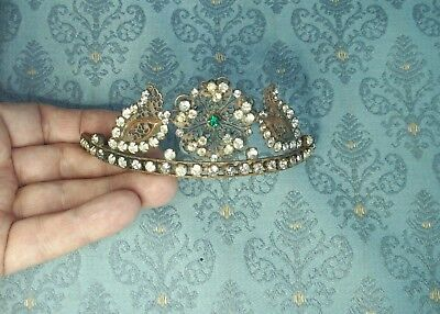 Old Antique French Rhinestone Art Nouveau Brass Tiara Crown Bridal Prom Queen