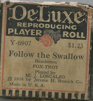 Follow the Swallow, played by M J Loscalzo, DeLuxe Y-6907 Piano Roll Original