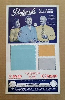 Packard's Made To Order Shirts,Salesman Sample Card,1940's