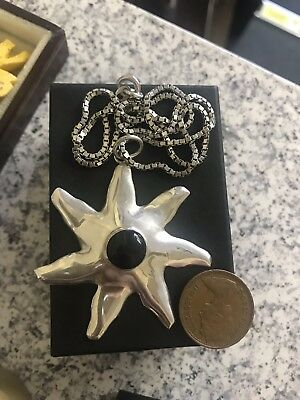 Large Hallmarked Silver Sun Pendant With Onyx On Silver Chain Statement