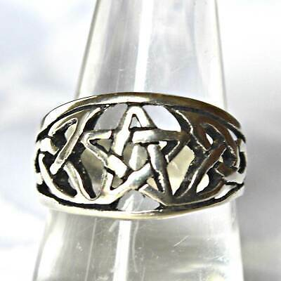 Celtic Pentagram Wide Sterling Silver Ring Wicca Witch Goth Pagan Reiki Goddess