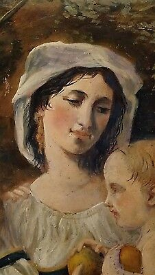 antique 19th century Oil Painting on canvas - Maiden with two children