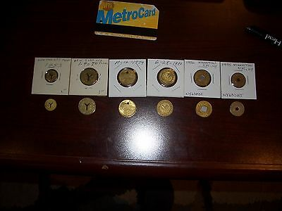 NYC New York City Subway Tokens, All six (6) from 1953 thru 1993.Complete set.
