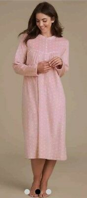 M s Spotted Fleece Nightdress Nightie Size 6 8 New Pink Marks And Spencer  Cosy ebdca3678