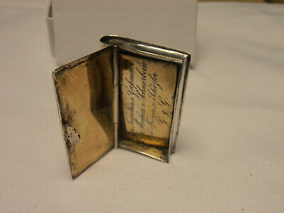 "1869  Antique Silver ""book Shaped"" Box - Possibly A Snuff Box?"