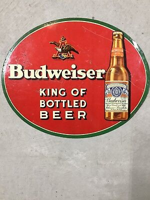 Vintage Budweiser Metal Beer Sign 1930's - Anheuser Busch - A&Eagle - Bottle