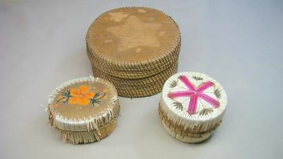 3 Old Indian Quill Birch Boxes Estate Lot NR