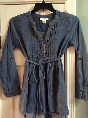 Motherhood Maternity Top, Long Sleeve, Denim Blue with Detailed Front, Sz. Small