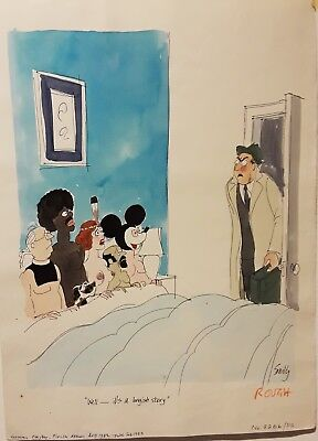 Original watercolor by Playboy magazine artist Smilby
