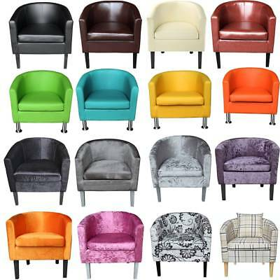 PANANA Crushed Velvet / Faux Leather /Fabric Tub Chair Armchair Home Cafe Chairs