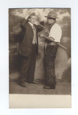 Antique RPPC Black Man armed robbery at Gunpoint Cowboy African American