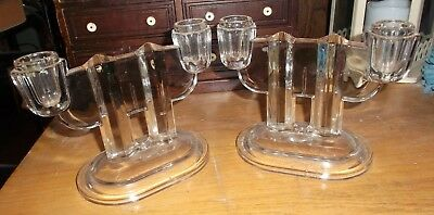 Art Deco Heavy Clear Glass Double Candle Sticks Footed Heirloom Quality Simplist