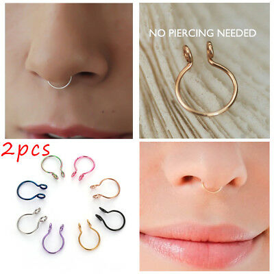 No Piercing Needed Body Jewelry Fake Nose Ring Cilp On Hoop Faux Septum